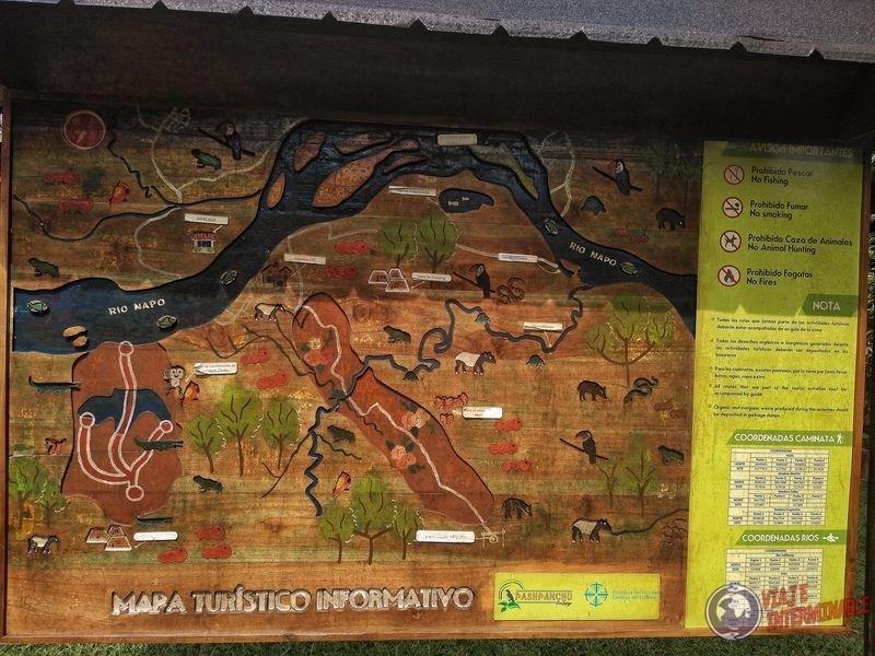 Cartel en Reserva Pashpanchu Waorani Pompeya Ecuador