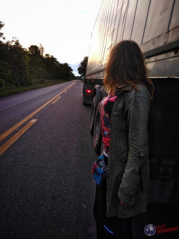Contra el camión camino a Boa Vista