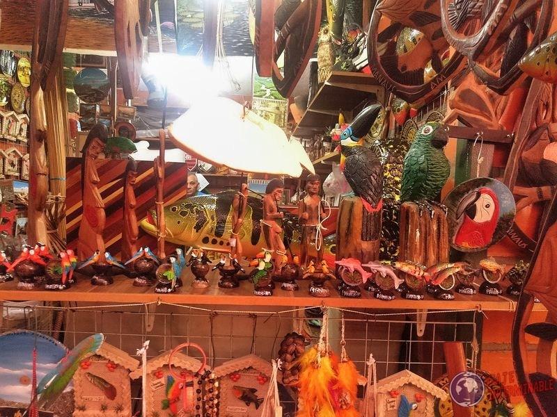 Mercado artesanias loros manaos brasil