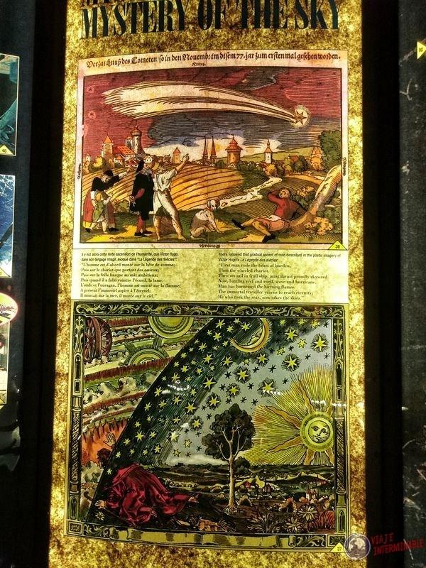 Cartel con pintura museo Centro espacial Kourou Guayana Francesa