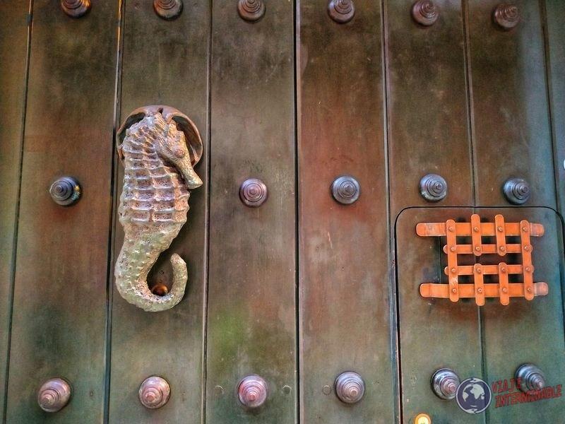 Golpeador aldaba hipocampo puerta cartagena colombia