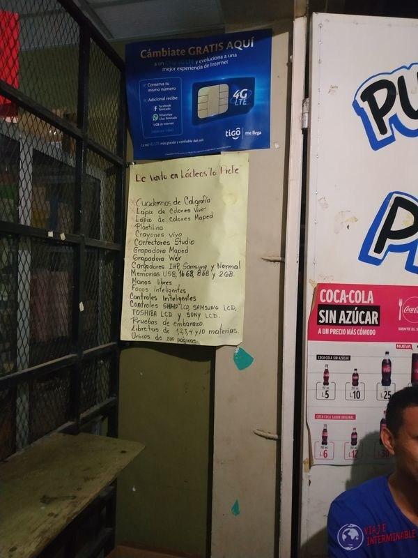 Cartel almacen tienda Choluteca Honduras