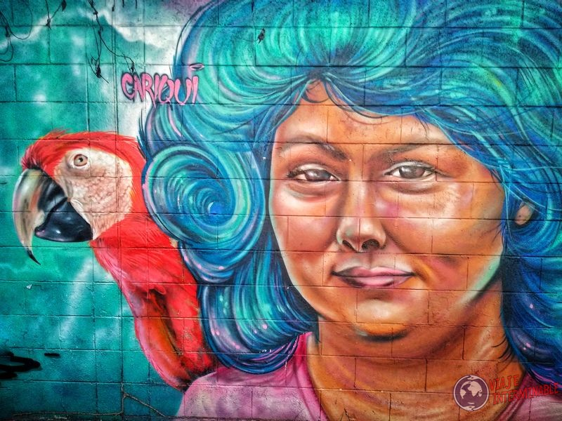 Grafiti guacamayo y señora El Salvador