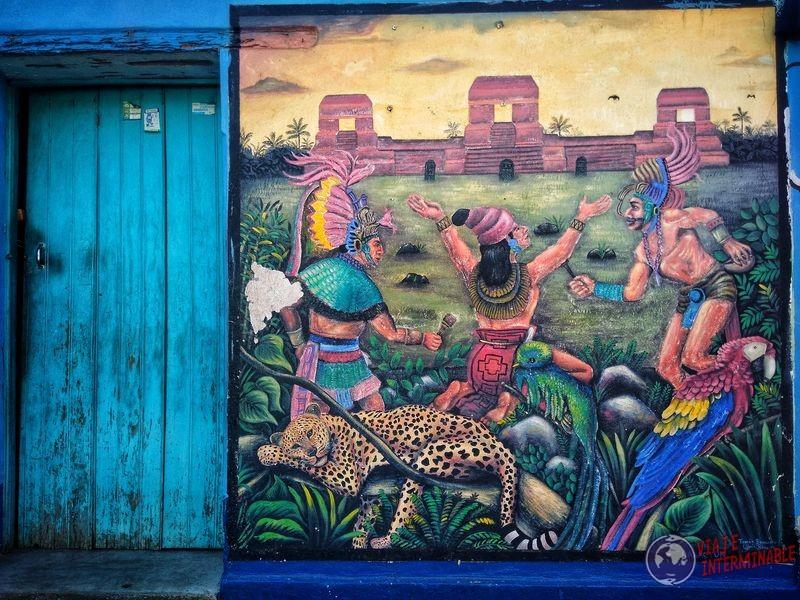 Grafiti rituales indígenas jaguar San Juan La Laguna Atitlan Guatemala
