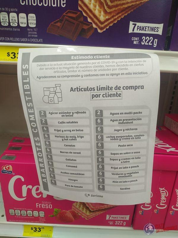 Limitaciones supermercado por covid Tijuana Baja California Mexico