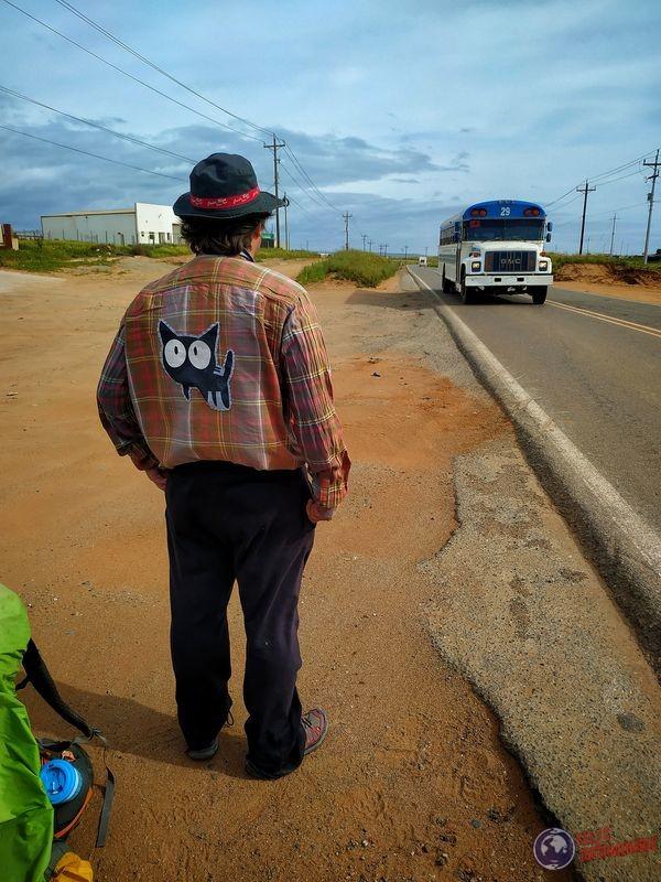 Wa ranchero espaldas ruta autostop hacia Ensenada Baja California Mexico
