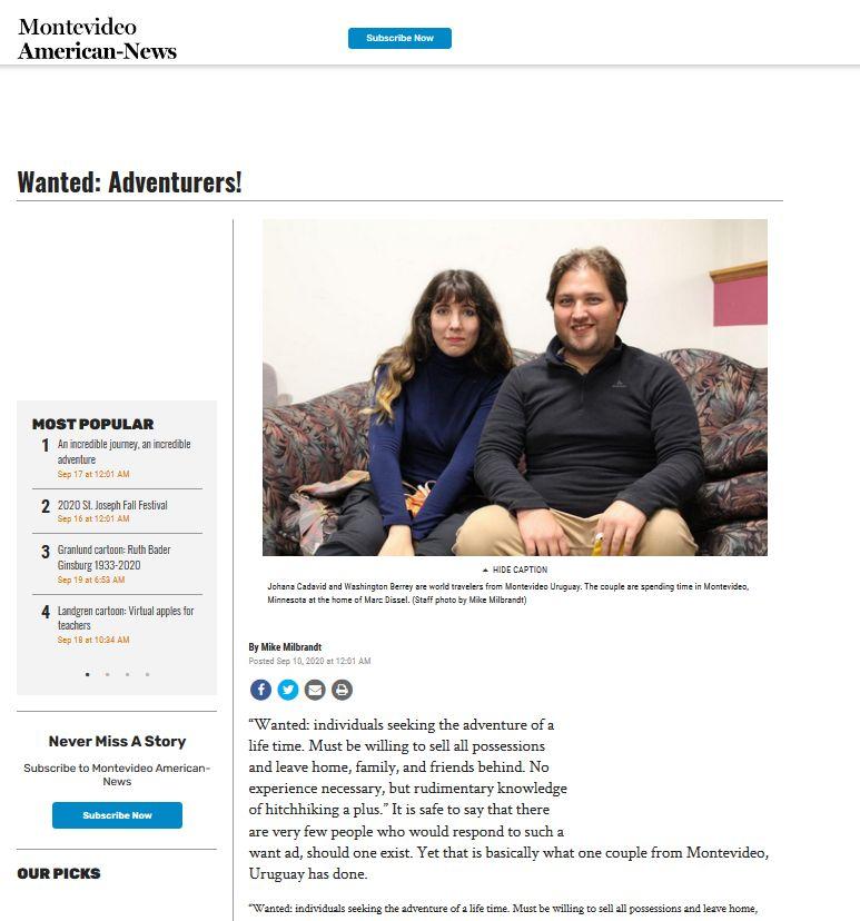 Prensa escrita MonteNEWS Montevideo Minnesota viajeinterminabel.com
