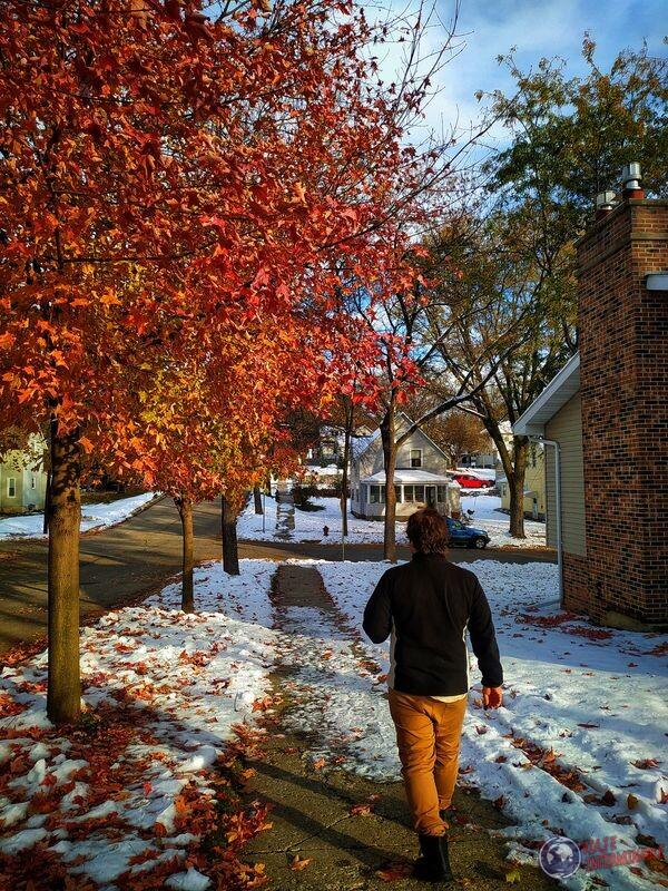 Calles Montevideo otoño y nieve.